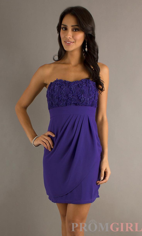 Short Strapless Semi Formal Dress, Short Prom Dresses- PromGirl