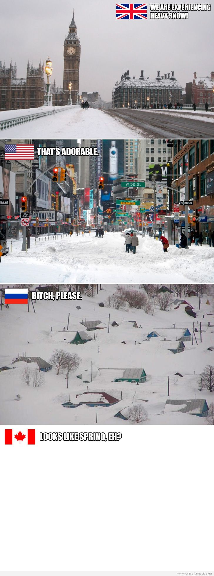 Funny Picture - Snow in England, USA and Canada