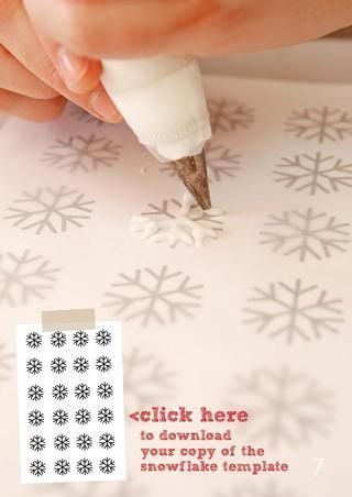 Royal icing snowflakes - just download template and pipe over. Leave at least 24 hours to dry.