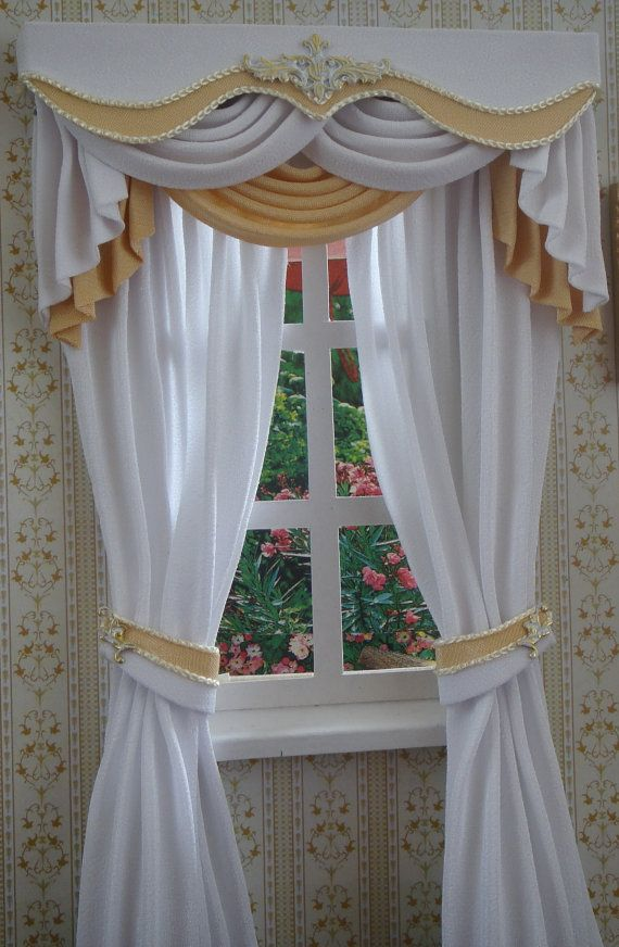 Miniature 1:12 Dollhouse curtains to order by TanyaShevtsova