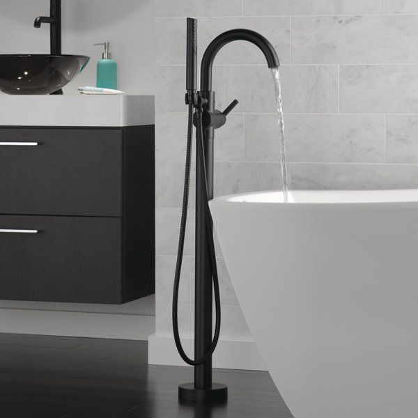 Trinsic Single Handle Floor Mount Freestanding Tub Filler With Hand Shower Allmodern With Images Freestanding Tub Filler Tub Filler Free Standing Tub