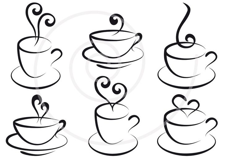 Set of coffee and tea cups with hearts, digital clipart, clip art, clip-art, graphic design, scrapbook, vector, instant download. $5.00, via Etsy.