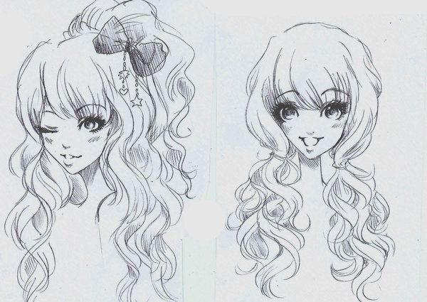 ANIME ART anime girls. . .gyaru style. . .big eyes ...