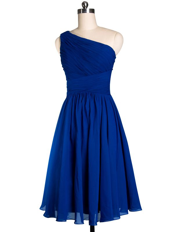 Pretty Royal Blue Tea Length One-shoulder Cocktail Bridesmaid Dress