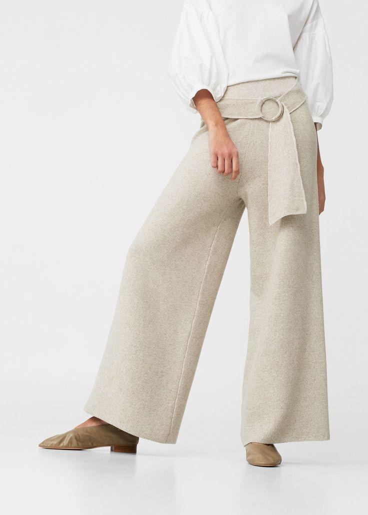 Linen palazzo trousers -  Women | MANGO USA