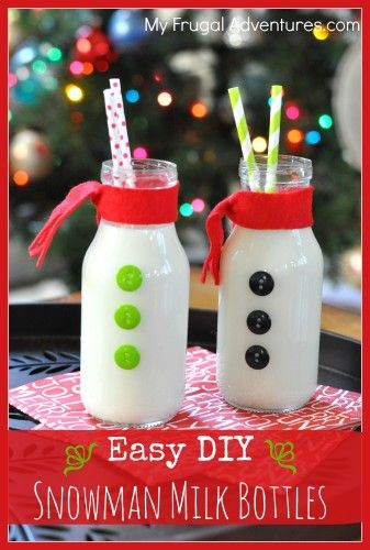 Easy Homemade Snowman Milk Bottles. These are so fun and just take a minute to make. Your children will love these with holiday cookies!