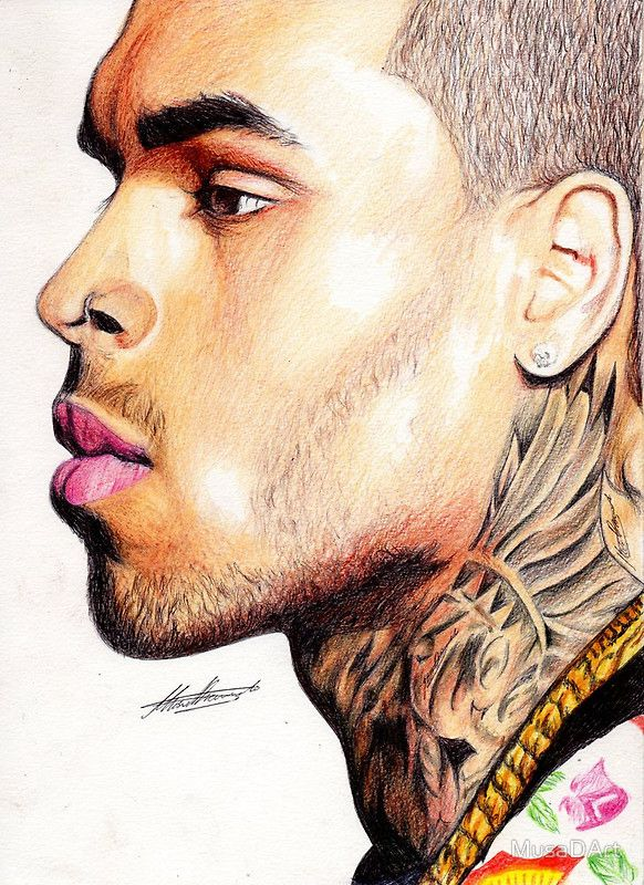 C B Illustration This is a drawing of the great music artist Chris Brown.  Here…