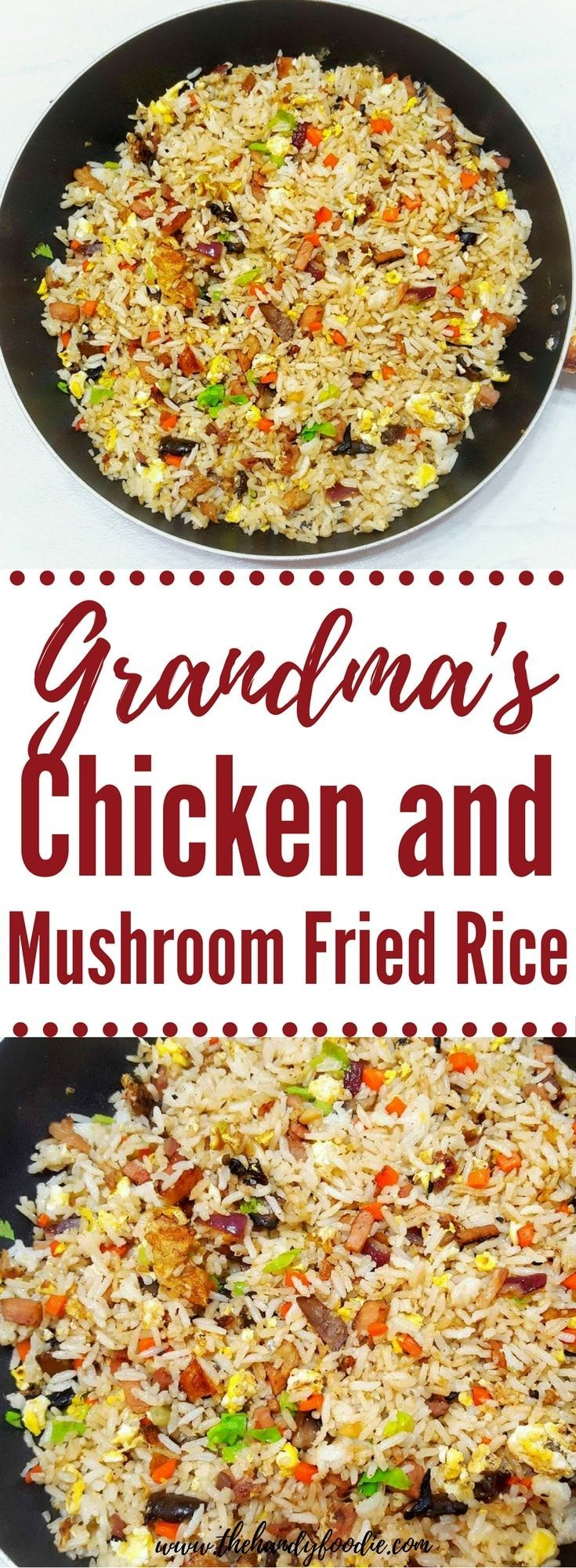 grandma's chicken and mushroom fried rice. chicken fried rice l mushroom fried rice l rice recipes l easy rice recipes l mixed vegetables l yummy recipes l cooked rice l yummy food l crockpot recipes