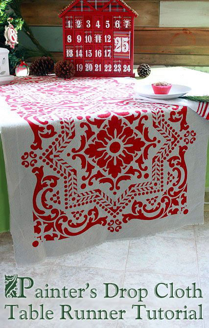 Painter's Dropcloth Table Runner: Pretty Handy Girl #LowesCreator