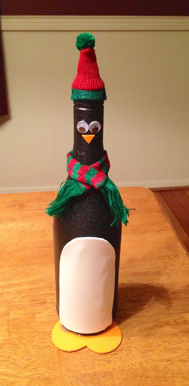 Penguin wine bottle craft