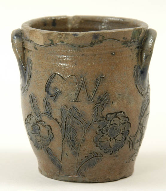 """Miniature stoneware crock with incised and cobalt blue bird and floral decoration, initialed """"GN"""" for George Nash, Utica and Albany, c. 1840"""