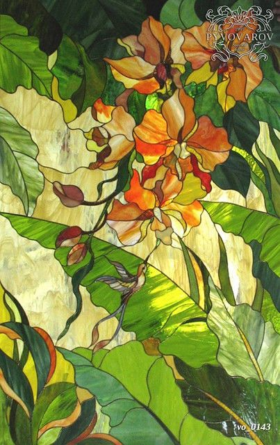 Flores de la pintura en las vidrieras de estilo Tiffany