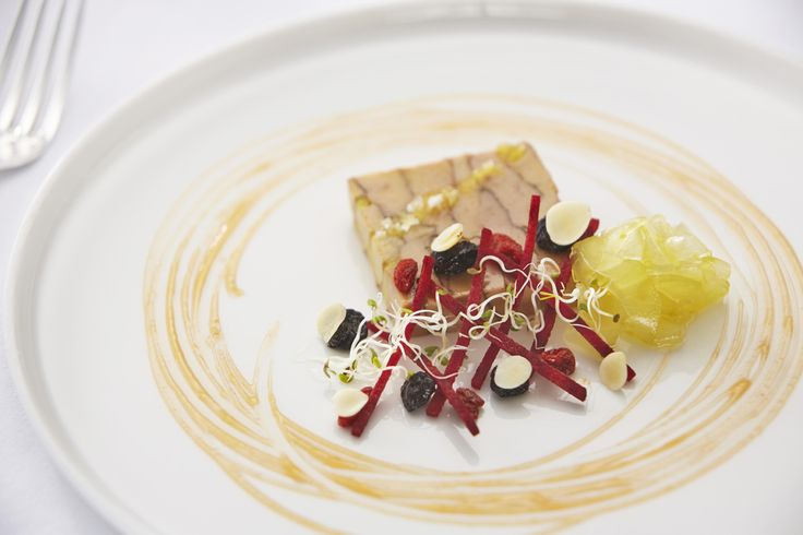 Can we tempt you with our golden duck terrine with apricot kernel, beetroot, pink grapefruit and goji... created by our award-winning chef, Olly Rouse