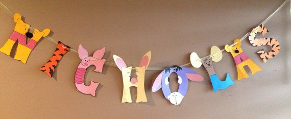 Winnie the Pooh party Winnie the Pooh Banner by Customcrafty on Etsy