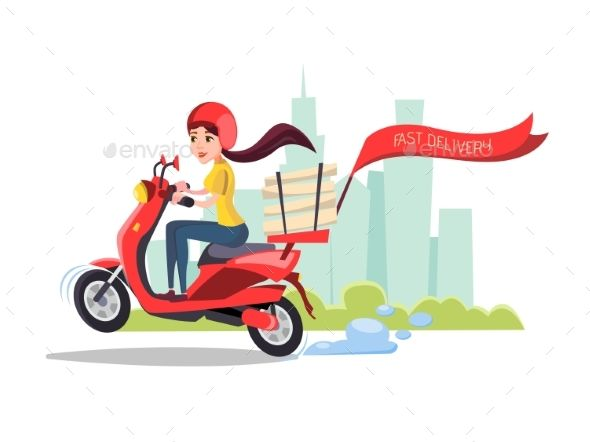 Vector Cartoon Delivery Girl Riding Scooter With Images Riding