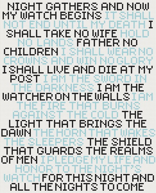 Game of Thrones Night's Watch oath cross stitch sampler PDF pattern. £2.30, via Etsy.