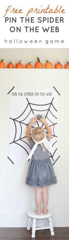 "Free Printable ""Pin the Spider on the Web"" Game! Perfect for Halloween parties and carnivals!"