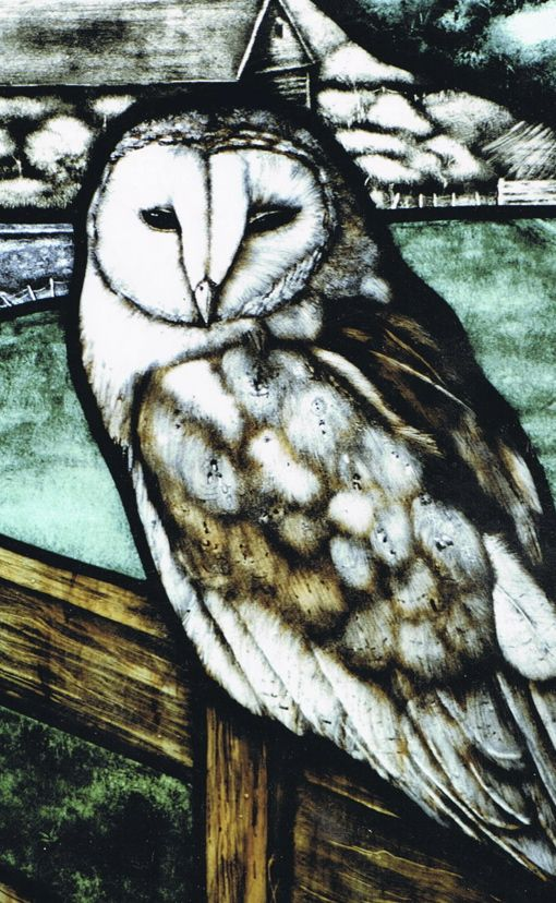 Mark Howard, Hand painted detail, Traditional stained glass panel....Private residence, UK
