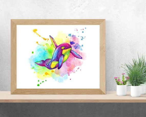 Digital Download Of Watercolor Rainbow Orca From Our Range Of