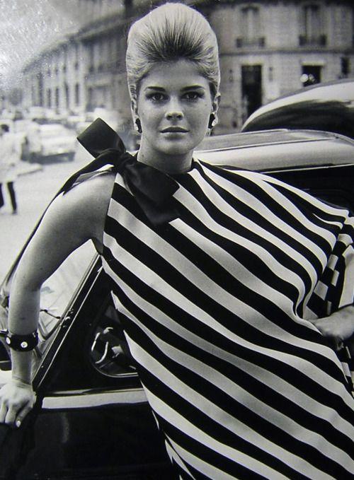 Candice Bergen models some major stripes, 1960s.