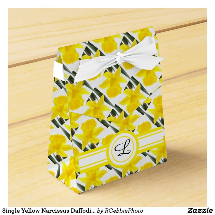 Single Yellow Narcissus Daffodil Monogram Favor Box - $3.25 - Single Yellow Narcissus Daffodil Monogram Favor Box - by #RGebbiePhoto @ #zazzle - #Daffodil #Yellow #Flowers - A vibrant yellow narcissus daffodil over white. Personalize this line with customizable Monogram! Add Your initial to customize! Symbolizing rebirth and new beginnings, the daffodil is virtually synonymous with spring. Though their botanic name is narcissus, daffodils are sometimes called jonquils, and in England…