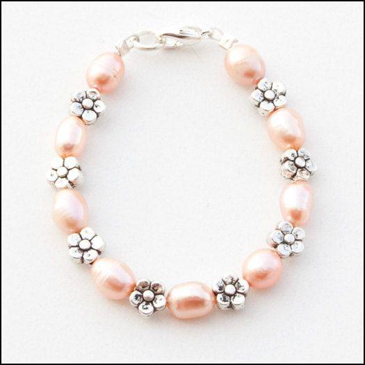 Peach Pink Freshwater Pearls Flower Silver Metal Beads by cfingram, $7.00