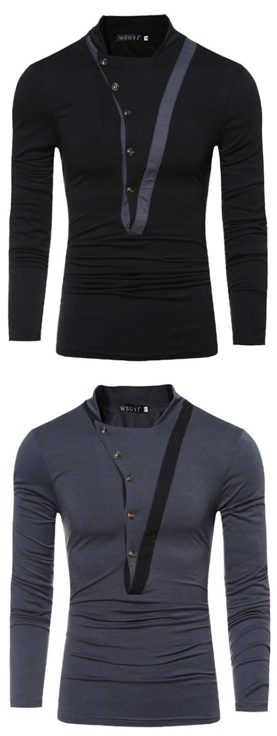 Stitching Button Collar Collar Long-Sleeved T-Shirt