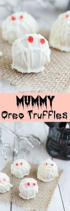 Mummy Oreo Truffles Mummy Oreo Truffles - use Pumpkin Spice...  Mummy Oreo Truffles Mummy Oreo Truffles - use Pumpkin Spice Oreos to make the cutest Halloween treat! Recipe : http://www.itubeudecide.com/ And @ItsNutella  https://www.pinterest.co.uk/ItsNutella