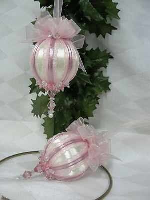 Handmade beaded ornament. Set of two pink and white beaded ornaments