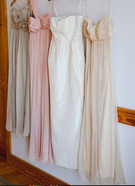 nude, pink and ivory bridesmaid dresses  **PERFECT! Love that they're all long; wish they all had straps.