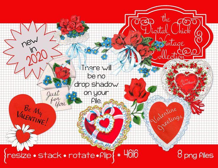 Vintage Valentine Clipart, Digital Instant Download