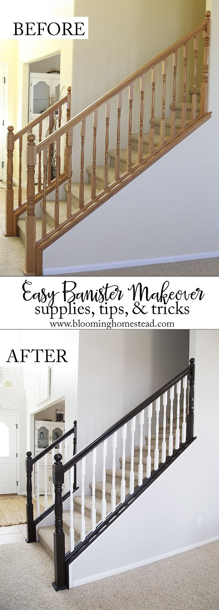 You won't believe this gorgeous stair railing makeover! And you can do it too! Be sure to check out these tips and tricks to avoid running into common issues that can arise.