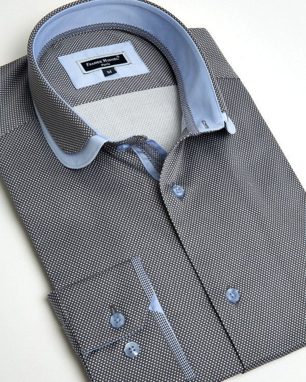 Franck Michel shirt - Claudine Double Collar Anthracite
