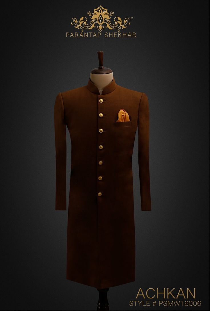 MENSWEAR: Toffee Brown Classy Fine Yarn Cotton-Silk Achkan, Golden Metallic Buttons at Straight front Placket and Golden work at Sleeves Ends.  Complete Outfit: Achkan, White Pyjama Pants & Silk Pocket Square For more info, catch us on  www.parantapshekhar.com