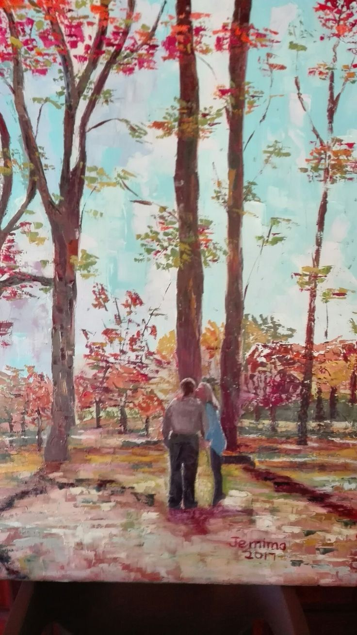 Autumn in Johannesburg. Jemima's youngest daughter and husband. Oil painting, artist Jemima.