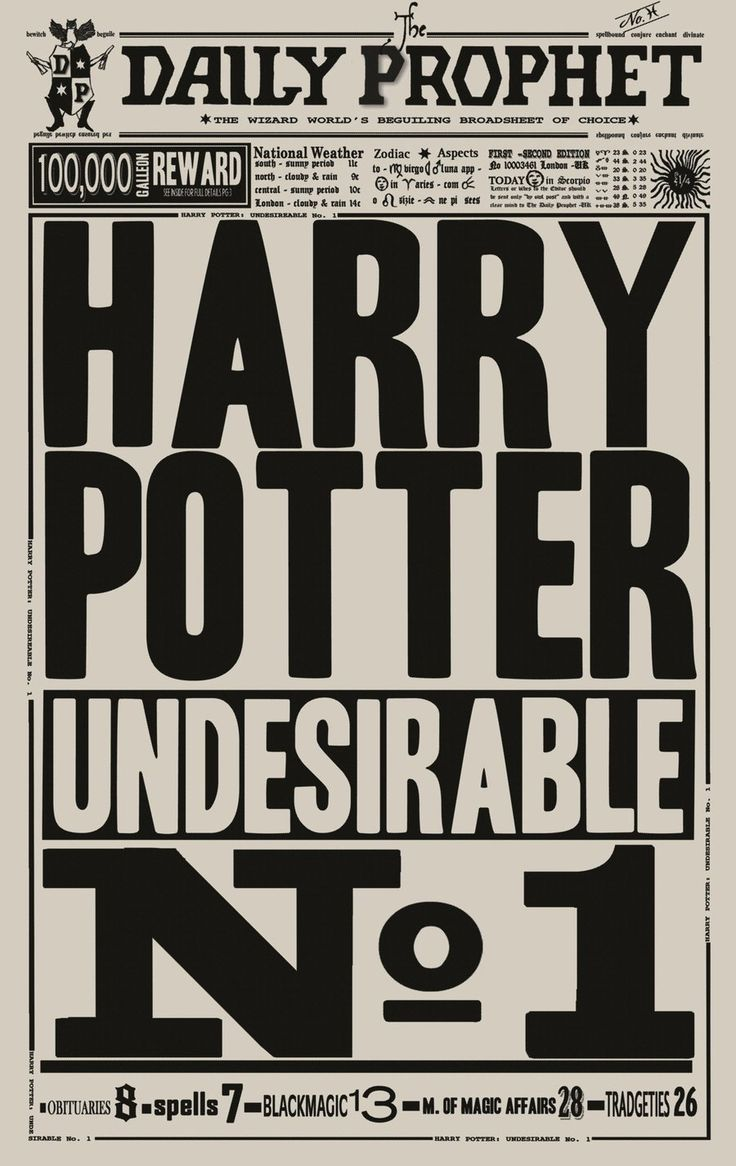 The Daily Prophet: Undesirable No.1 #harrypotter