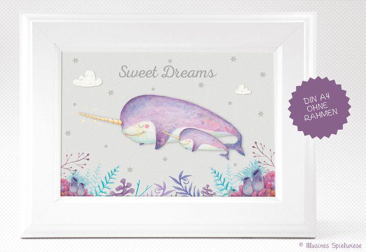 Bilder - Kunstdruck | Narwal Sweet Dreams - ein Designerstück von Illusine bei DaWanda