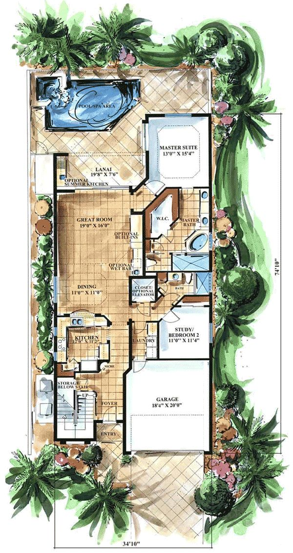 Best 25 narrow lot house plans ideas on pinterest for Key west house plans