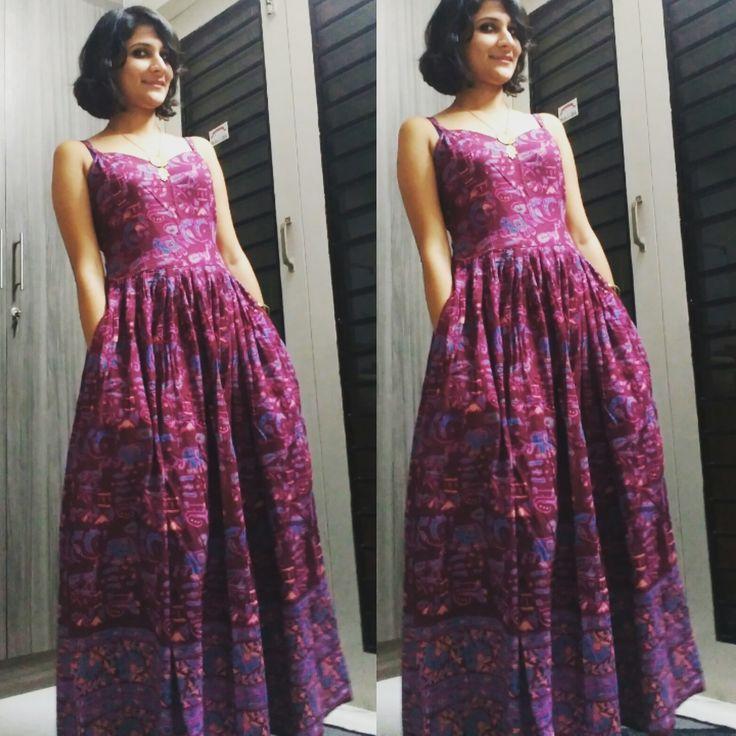 Kalamkari maxi dress with pockets :) by tadka