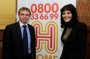 Mark Menzies and Hilary Devey (Dragon's Den) taking part in the Home Heat Help Campaign