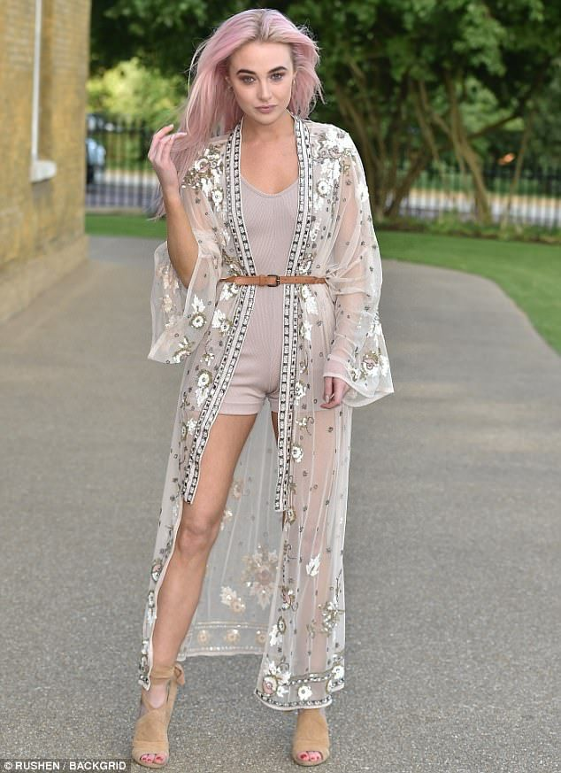 Wow: Nicola Hughesdebuted her pink candyfloss locks at the LIKEtoKNOWit App Launch Party at the The Magazine Restaurant, in Hyde Park on Thursday evening