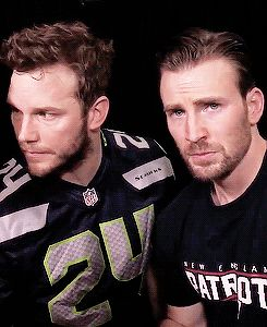Chris Pratt and Chris Evans, looking super cereal, you guys. - Visit now to grab…
