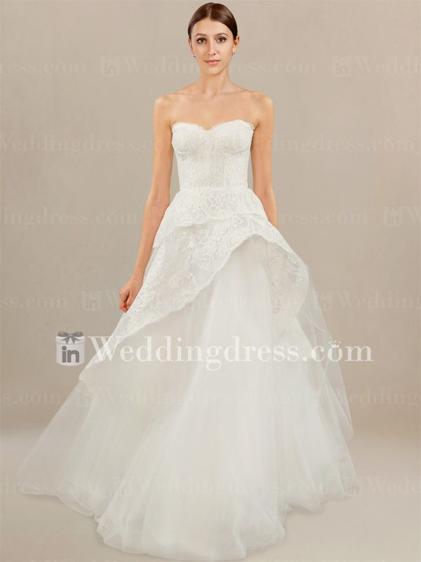Unusual Bridal Gown with Lace Peplum Detail #weddingdress