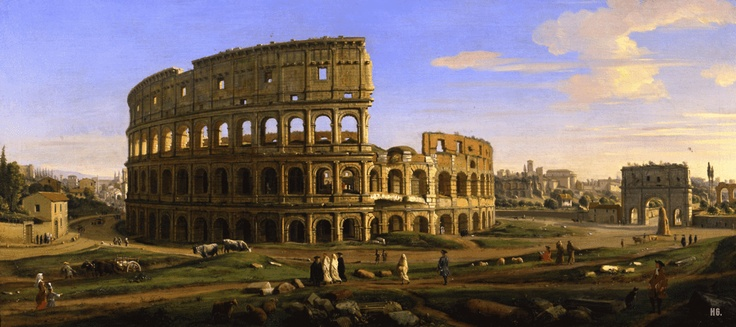View of the Colosseum with the arch of Constantine. 1707.  Caspar Van Wittel. Dutch. 1653-1736. oil on canvas.