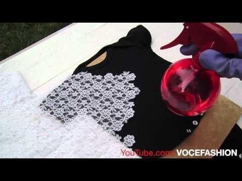 Linda Camiseta em 3 min usando renda e alvejante ( ex: macacão de bebê) - YouTube