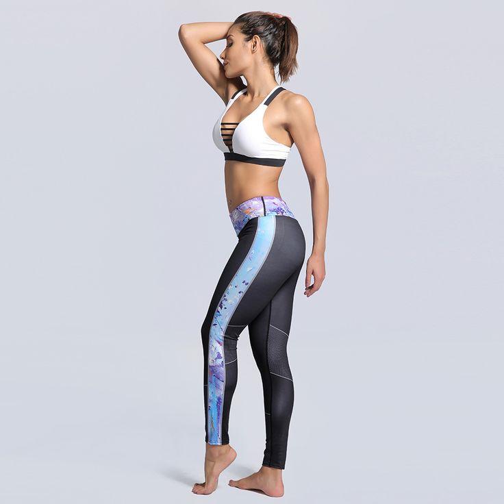 ESHINES Women Yoga Leggings Running Tights Fitness Pants Wide Elastic Waist Print Gym Legging Bottom Yoga Pants Women Sportswear #Affiliate