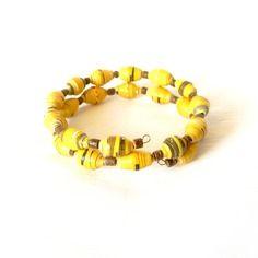 Bracelet africain jaune et brun-noir perles en papier - fait main
