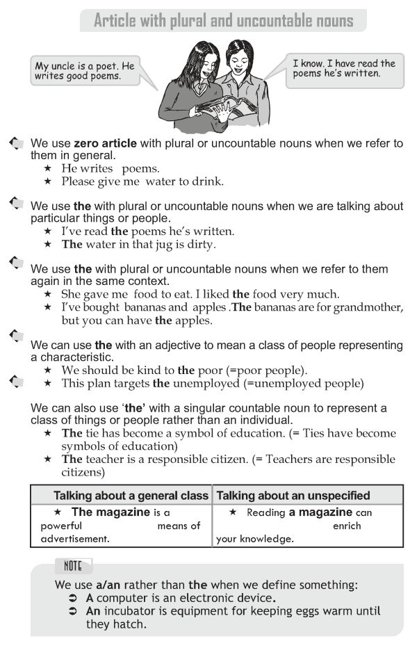 Grade 10 Grammar Lesson 29 Article with plural and