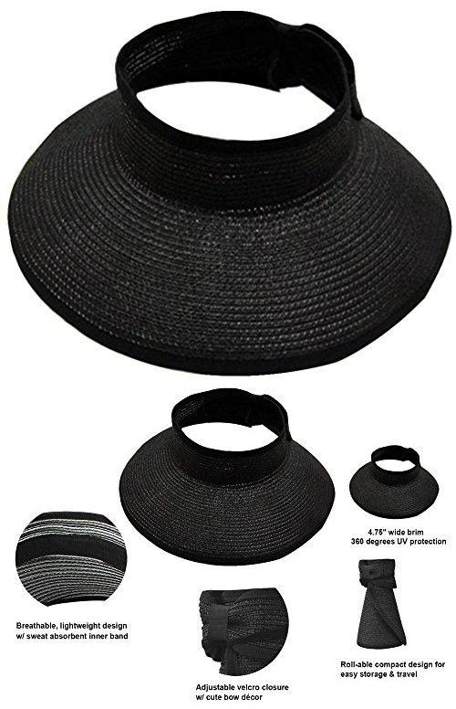 AbbyLexi Womens UPF 50+ Packable Crushable Roll-Up Summer Sun Visor ... 0dd546a4b86e