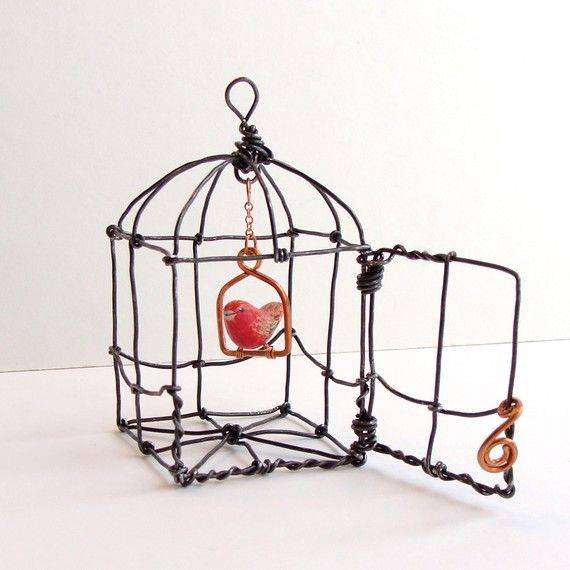Bitsy Red Bird in a Domed Cage Wire Sculpture